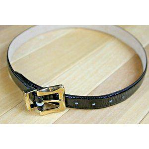 Talbots Black Leather Belt Faux Lizard Small